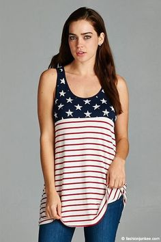 Red, White & Blue American Flag Tank Top-White- 4th of July
