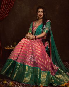 Top Half Saree Designs That Will Look Too Good in Photos Half Saree Designs, Bridal Blouse Designs, Lehenga Designs, Saree Blouse Designs, Dress Designs, Sleeve Designs, Half Saree Lehenga, Lehnga Dress, Long Gown Dress