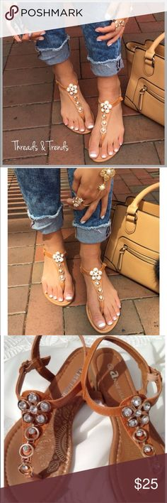 Camel Crystal Gem Sandals Camel color daisy gem embellished sandals. Featuring ankle strap side buckle metallic hardware closure. Great summer sandal to mix and match with dressy or casual outfits. Size 5.5 Threads & Trends Shoes Sandals