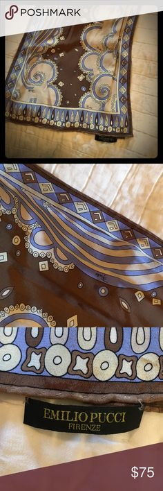 Emilio Pucci silk scarf This timeless Pucci scarf was purchased at Saks. Colors are chocolate,  purple and white paisley. Emilio Pucci Accessories Scarves & Wraps