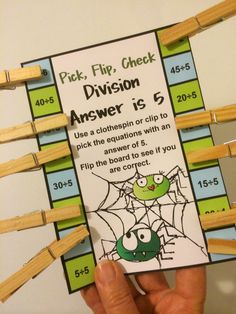 Division Pick, Flip, Check Cards 12 Self Correcting Cards! Kids love to pick, flip and check! $