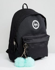 Hype Exclusive Backpack in Black With Teal Pom - Black Small Backpack, Black Backpack, Asos Online Shopping, Online Shopping Clothes, Hype Bags, Nike Pullover, School Bags, School Stuff, Cool Backpacks