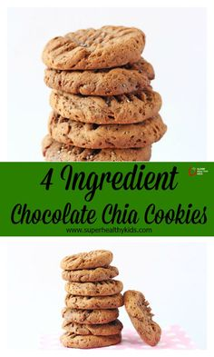 4 Ingredient Chocolate Chia Cookies -With just four simple ingredients you can make these delicious and healthy cookies! http://www.superhealthykids.com/4-ingredient-chocolate-chia-cookies/