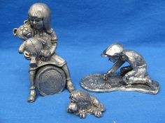 3 Vintage Pewter Figurines Signed and Numbered by Oldworldbazaar