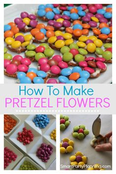 Learn how to make simple pretzel flowers with white chocolate and M&M's. These are the perfect little bites that combine sweet and salty goodness. They are fun to make and awesome to eat. Birthday Party Snacks, Snacks Für Party, Party Treats, 4th Birthday, Mnm Cake, How To Make Pretzels, Troll Party, Chocolate Covered Pretzels, Cute Food