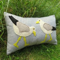 Wading gulls.  A 48cm x 28cm cushion.  Complete with cushion pad. £35.00