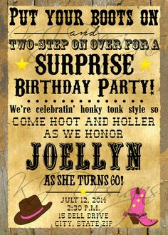 WESTERN BIRTHDAY invitation - digital, 60th birthday, honky tonk, country, 5x7, surprise birthday, western, cowgirl, cowboy, rodeo, holler on Etsy, $8.00