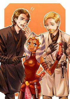 Anakin Skywalker, Ahsoka Tano, and Obi-Wan Kenobi