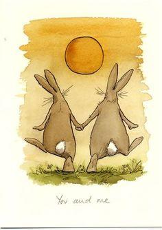 YOU & ME a Two Bad Mice card by Anita Jeram¡Los animales de dos en dos, ua. Arte Sharpie, Anita Jeram, Rabbit Art, Bunny Art, Children's Book Illustration, Watercolor Paintings, Cute Pictures, Art Drawings, Street Art