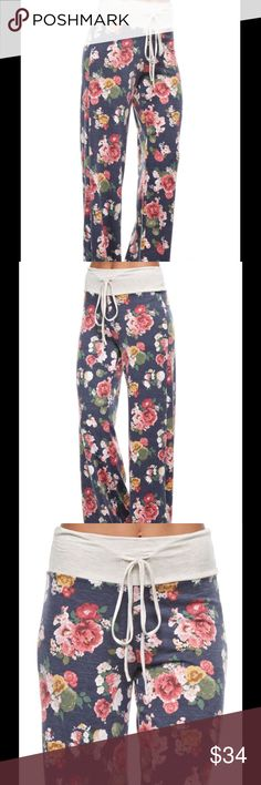 Cozy Floral Lounge Pants Navy Super cozy and comfy floral lounge pants. Thick heather oatmeal waistband with drawstring tie. Pants Boot Cut & Flare