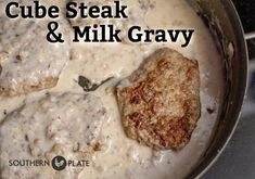 Southern steak and milk gravy- tender steak smothered in creamy and flavorful milk gravy, proof that simple food is often times the best! Baked Cubed Steak, Cubed Steak Recipes Easy, Fried Cube Steaks, Fried Steak, Milk Recipes, Cooking Recipes, Beef Recipes, Recipies, Cuban Recipes