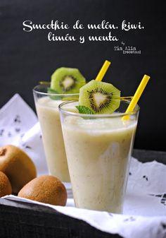 Smoothie de melón, kiwi, limón y menta