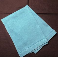 Pair of Turquoise Linen Guest or Hand Towels  by VictorianWardrobe
