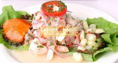 Recette Ceviche Préparation recette de salade Ceviche : Commencez par couper le poisson en petits cube de 2 cm. Recouvrir du jus de citron. Parseme