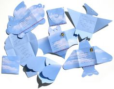 These creative envelopes allow you to write in them and then fold into a square to post. They come in various shapes such as a winged-pig, bat, balloon, rocket, etc