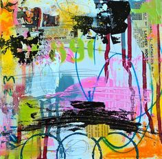 """series, Poems That Don't Rhyme, 8, by Lorette C. Luzajic, 8x8"""", mixed media collage on gallery canvas,  www.ideafountain.ca"""