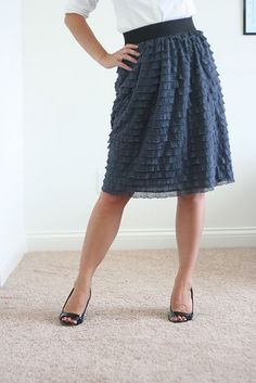 Sew a ruffle skirt with ruffle fabric http://www.vanessachristenson.com/2011/09/v-and-co-how-to-sewing-with-ruffle.html
