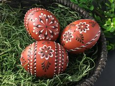 Traditional Polish Easter Eggs, Set of 3 Decorated Brown Chicken Eggs, Polish Drop Pull Pysanky, Wax Embossed Eggs Chicken Egg Colors, Polish Easter, Egg Decorating, White Gift Boxes, Egg Shells, Note Cards, Easter Eggs, Drop, Polish