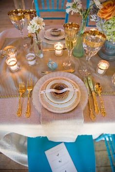 Gold-rimmed glassware, gold flatware, and votives with gold accents turn burlap from boring to Luxe Reception Table Design, Wedding Table Settings, Place Settings, Gold Table, Gold Glass, Event Design, Tablescapes, Tea Lights, Table Decorations