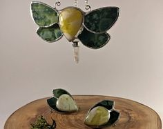 Green moth stained glass, Scottish  marble jewellery set, Necklace and earrings / ear cuff
