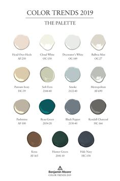Benjamin Moore Color Trends a collection of 15 paint colors that can all w. - Benjamin Moore Color Trends a collection of 15 paint colors that can all work together. The collection offers colors for walls, trim, ceilings, … – home Inspiration – - Paint Colors For Home, House Colors, Paint Colours, Small Bedroom Paint Colors, Vintage Paint Colors, Ceiling Paint Colors, Nursery Paint Colors, Modern Paint Colors, Trending Paint Colors