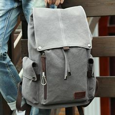 Retro Large Men's Canvas Drawstring Travel Laptop School Bag Hiking Backpack