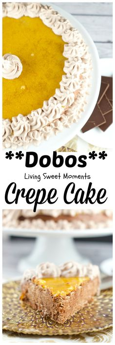 Dobos Crepe Cake - A modern take of the famous Hungarian Dobos Torte made with crepes. Delicious and elegant chocolate cake that will impress your guests. #FWCon
