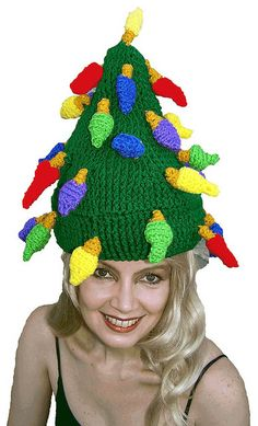 Christmas Tree Hat - Crochet Pattern by Bonnie Bonet, - Knitting Pattern .pdf instant download $1.50.  Lots of fun patterns here!