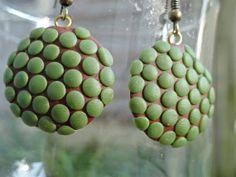 Green Polka Dot Earrings for sale $17