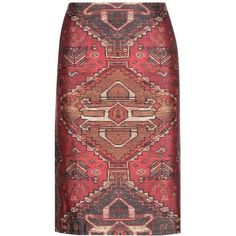Tory Burch Printed Wool and Silk Skirt ($225) ❤ liked on Polyvore featuring skirts, multicoloured, red skirt, tory burch skirts, colorful skirts, woolen skirt and tory burch
