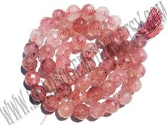 Semiprecious Stone, Strawberry Quartz (Russian) Faceted Round (Quality B) / 7.50 to 8.50 mm / 36 cm / STRA-009 by beadsogemstone on Etsy #strawberrybeads #russianbeads #roundbeads #jewelrymaking #craftsupplies #semipreciousstones #semipreciousbeads #beads #briolettes #stones #beads