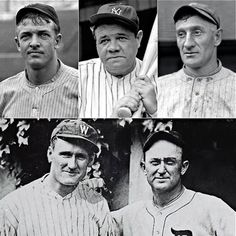 The first players voted into the Baseball Hall of Fame were (clock-wise from upper left): Christy Mathewson, Babe Ruth, Honus Wagner, Ty Cobb, Walter Johnson