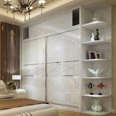 Remarkable custom made closet high gloss lacquer glass bedroom wardrobe sliding  1000 x 1000