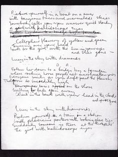 John Lennon's hand-written lyrics for Lucy in the Sky with Diamonds (1967)