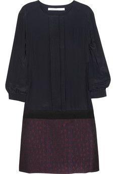 Victoria, Victoria Beckham  Plissé-front crepe de chine and brocade mini dress  $695
