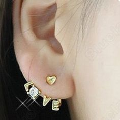 Discount China china wholesale Unique Letters Love Drill Inlaid Ear Hammer 6492 [6492] - US$1.24 : DealsChic