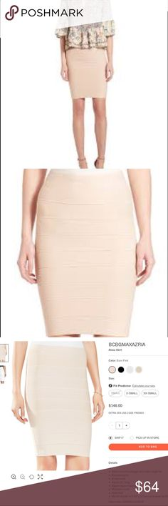 BCBGMaxAxriq 'Alexa' Bandage Skirt Bare Pink L In excellent condition. No stains, holes or snags. Lots of trenches and horizontal ribbing. More pics and details to come. BCBGMaxAzria Skirts