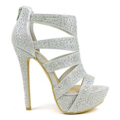 e445e866f3e357 Celeste Women s  Sheri-01  Rhinestone Cut-out Dress Pumps. Silver Heels PromSilver  Open Toe ...