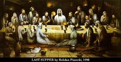 """Holy Thursday: """"Bohdan Piasecki, who created the Last Supper painting for BASIC, is one of the most famous contemporary Polish artists. He has lived and worked as an artist in Italy, Canada and France. He is Secretary of the Polish Academy of Art, and is now living with his wife Teresa in his home town of Okuniew, near Warsaw.""""  If you wish; read the article about passover and/or practice the visio divina that I posted below.  Don't forget to experience, The Passover Moon, tonight."""