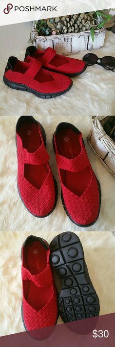 Vibrant Red Handwoven Bernie Mevs Bought for my mother, wore them twice and ended up not wanting them anymore. Almost like new still with the box! Most comfortable shoes you will wear. Feel free to ask me any questions! bernie mev. Shoes Sandals