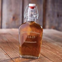 "Vintage-Style Glass Flask with Name, Date and ""Groomsmen"" Engraved"
