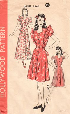 Hollywood 1240 Down Home Charm Coat or Housecoat / ca. 1943 ruffle dress red floral 40s war era red white color illustration pattern dress