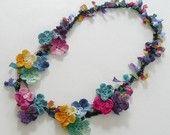 Items op Etsy die op Frida Kahlo Floral Necklace Crochet Colorful Chain Cotton Ribbon lijken