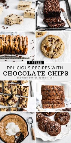 Looking for the best chocolate chip recipes? I've got you covered! Today I'm sharing 15 Delicious Recipes with Chocolate Chips from muffins, cookies, brownies, cakes bars and more. No matter what dessert idea you're baking, there is always room for chocolate chips.   Browned Butter Blondie Desserts With Chocolate Chips, Caramel Chocolate Chip Cookies, Chocolate Chip Banana Bread, Melting Chocolate Chips, Chocolate Chip Recipes, National Chocolate Chip Day, Cookie Dough Fudge, Delicious Recipes, Yummy Food