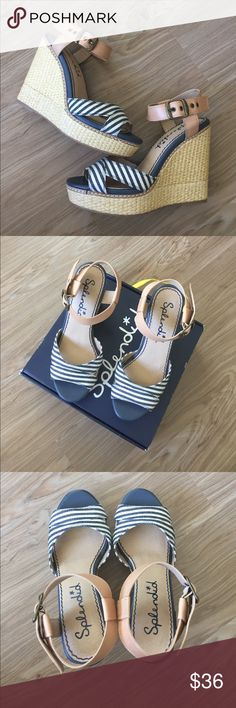 """Splendid Wedge Sandal New in Box 7.5 Denim&Leather From Splendid, this thatched wedge props up a nautical-stripe sandal topped with a contrasting leather ankle strap. Adjustable strap with buckle closure Approx. heel height: 4 1/2"""" with 1 1/2"""" platform (comparable to a 3"""" heel). Cerato Leather ankle strap. Brand new in box. Never worn.  Sold out at Nordstroms.  *Leather naturally has tanning to parts of the strap.  Originally Sold this way and is natural to the material.  Please see second…"""