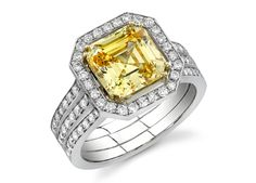 Fancy Yellow Square Emerald Cut #Diamond Ring