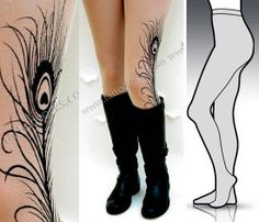 #Small Medium sexy MINI and BOOTS peacock FEATHER by tattoosocks, $25.00