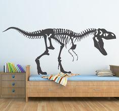 T-rex skelet sticker Dinosaur Bedroom, Deco Originale, Mural Art, Murals, Little Monsters, T Rex, Frames On Wall, Wall Decals, New Homes