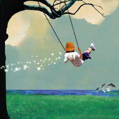 My love will find you. . . (Nancy Tillman print: Swinging Mixed Media at ArtistRising.com)