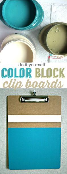 DIY ColorBlock ClipBoards | Office makeover | TodaysCreativeLife.com